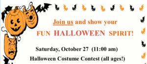 Halloween Festivities- Saturday October 27
